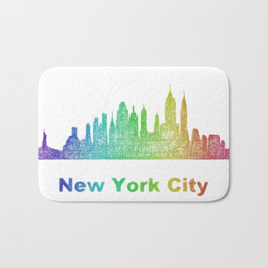 Rainbow New York City skyline Bath Mat
