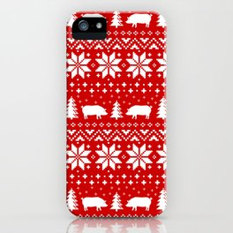 Pig Silhouettes Christmas Sweater Pattern iPhone Case