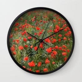 A stroll of poppies Wall Clock