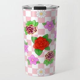 Pixel Flower Pattern Travel Mug