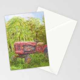 Old Massey Harris 55 tractor in rural France Stationery Cards