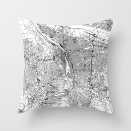 Portland White Map Throw Pillow