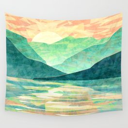Spring Sunset over Emerald Mountain Landscape Painting Wall Tapestry