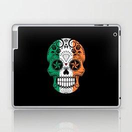 Sugar Skull with Roses and Flag of Ireland Laptop & iPad Skin