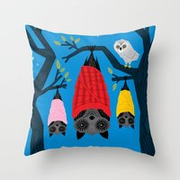 blankets Throw Pillows featuring Bats in Blankets by Oliver Lake