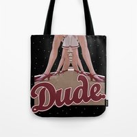 lebowski Tote Bags featuring The Big Lebowski - Dude by John Medbury (LAZY J Studios)