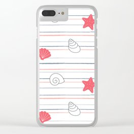 cute summer marine striped pattern with seashells and starfishes Clear iPhone Case