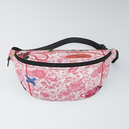 Vintage Red Pink Flowers Butterfly Watercolor Fanny Pack