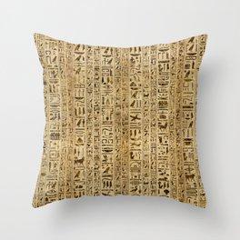 Egyptian hieroglyphs on papyrus Throw Pillow