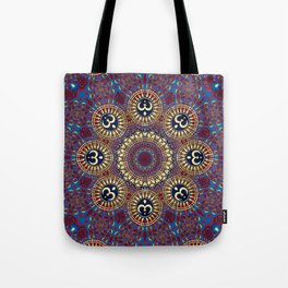 Golden Om series : Blue Red Batik Fractals Tote Bag