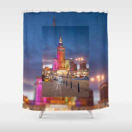 Rainbow colors at building Shower Curtain