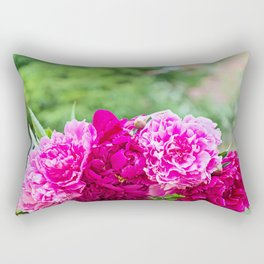 Fresh pink peony flowers bouquet on the table. Shallow depth of field. Rectangular Pillow