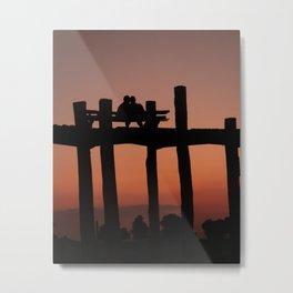Sunset Lovers   Mandalay Myanmar / Burma   Warm toned photo print   Fine Art Travel Photography Metal Print