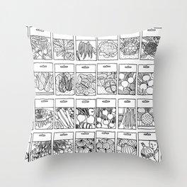 Veggie Seeds Patten - Line Art Throw Pillow