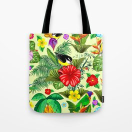 Birds and Nature Floral Exotic Seamless Pattern Tote Bag