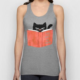 Cat reading book Unisex Tank Top