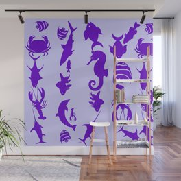 Purple Sea World Fish Pattern Wall Mural