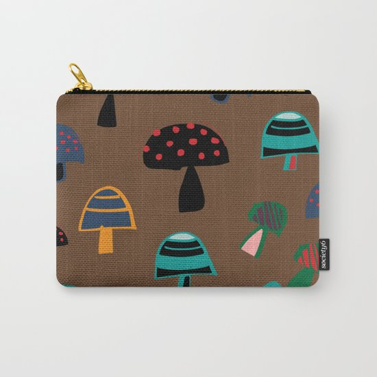 Cute Mushroom Brown Carry-All Pouch