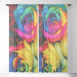 Rainbow Roses Sheer Curtain