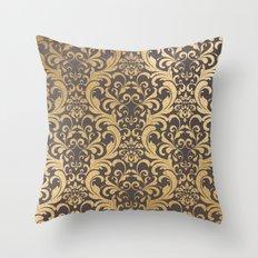 Gold swirls damask #1 Throw Pillow