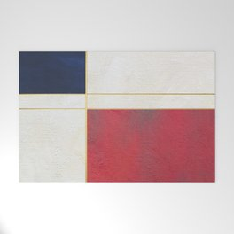 Blue, Red And White With Golden Lines Abstract Painting Welcome Mat