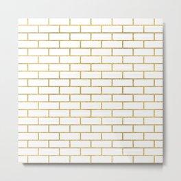Gold Subway Tiles Metal Print