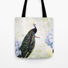 Blue peacock and hydrangea Tote Bag