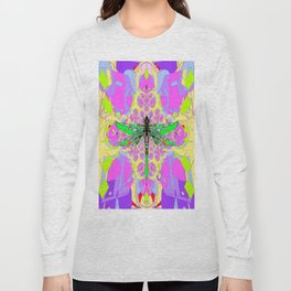 Emerald Green Dragonfly Pink Abstract Long Sleeve T-shirt