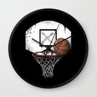 basketball Wall Clocks featuring basketball by Penfishh