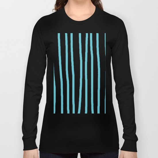 Simply Drawn Vertical Stripes in Seaside Blue Long Sleeve T-shirt