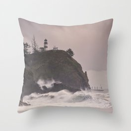 Waikiki Beach Columbia River Washington Northwest Nature Wilderness Outdoors Landscape Seascape Lighthouse Cape Disappointment Storm Throw Pillow