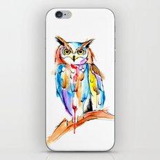 watercolor owl iPhone Skin