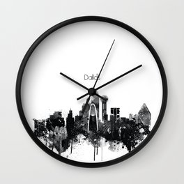 Dallas TexasBlack White Skyline Poster Wall Clock