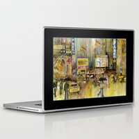 broadway Laptop & iPad Skins featuring Broadway,  New York by Dorrie Rifkin Watercolors