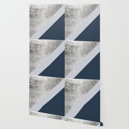 Modern minimalist navy blue grey and silver foil geometric color block Wallpaper