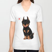 doberman V-neck T-shirts featuring Chibi doberman by Furiarossa
