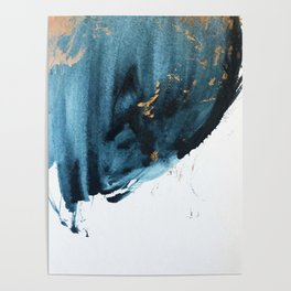 Sapphire and Gold Abstract Poster