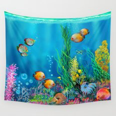 Undersea with Nautilus Wall Tapestry