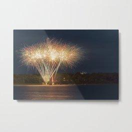 Fireworks Over Lake 29 Metal Print