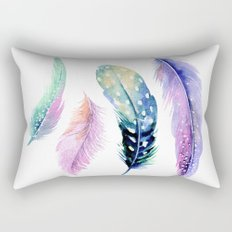 Watercolor Feather Rectangular Pillow