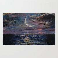 the moon Area & Throw Rugs featuring Moon by Michael Creese