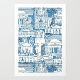 Washington DC toile blue Art Print