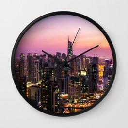 Skyline Jumeirah Lake Towers, Dubai, United Arab Emirates at Dusk Wall Clock
