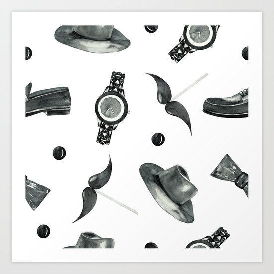watercolor fashion pattern  black on white Art Print