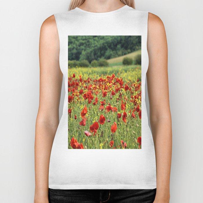 Poppies, Poppies, Poppies Biker Tank