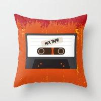 cassette Throw Pillows featuring Cassette by Ruveyda & Emre