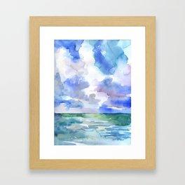 Abstract Ocean Watercolor Framed Art Print