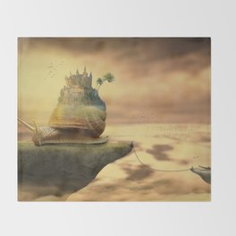 The Snail With The Castle Back Pulls The World Throw Blanket