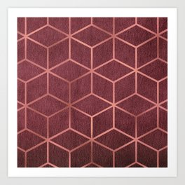 Pink and Rose Gold - Geometric Textured Gradient Cube Design Art Print