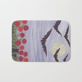 bats, zinnias, and black cat Bath Mat